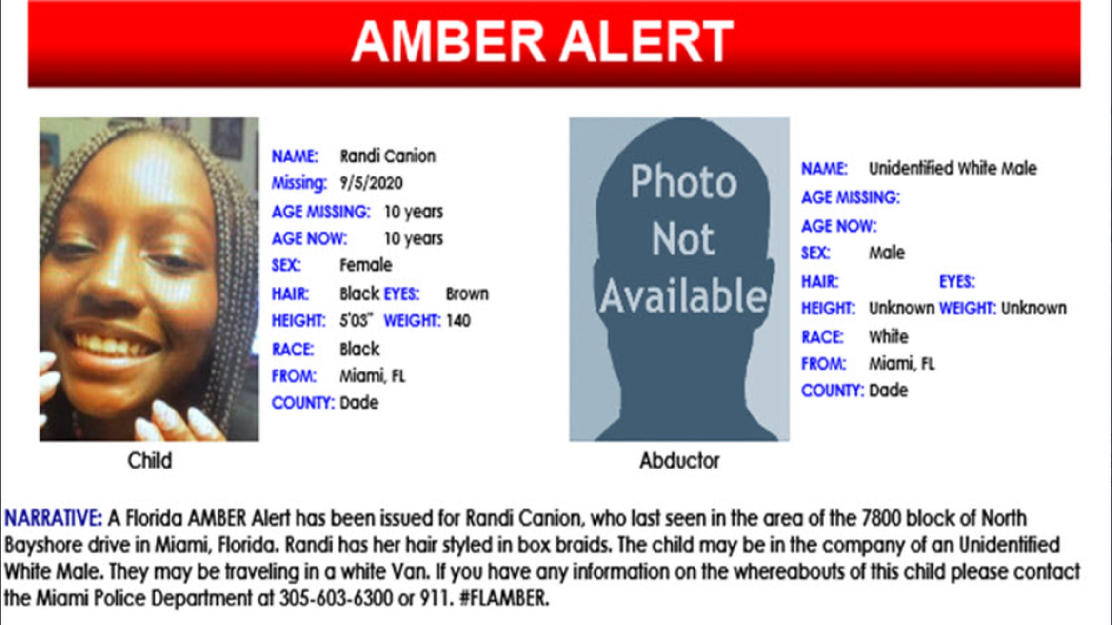 Amber Alert Issued For Girl 10 Last Seen In Miami
