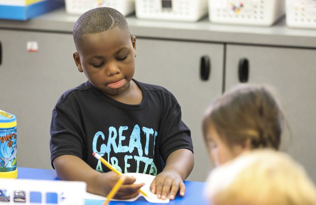 Jahvier Blair, 5, does class work Thursday, June 24, 2021 in Largo. Blair and 16 other students are taking part in a Rising K program that lasts for four-weeks during the summer.