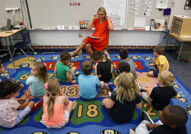 Teacher Julie Nibert, 45, leads her students during classroom work Thursday, June 24, 2021 in Largo. Seventeen students are taking part in a Rising K program that lasts four-weeks during the summer.