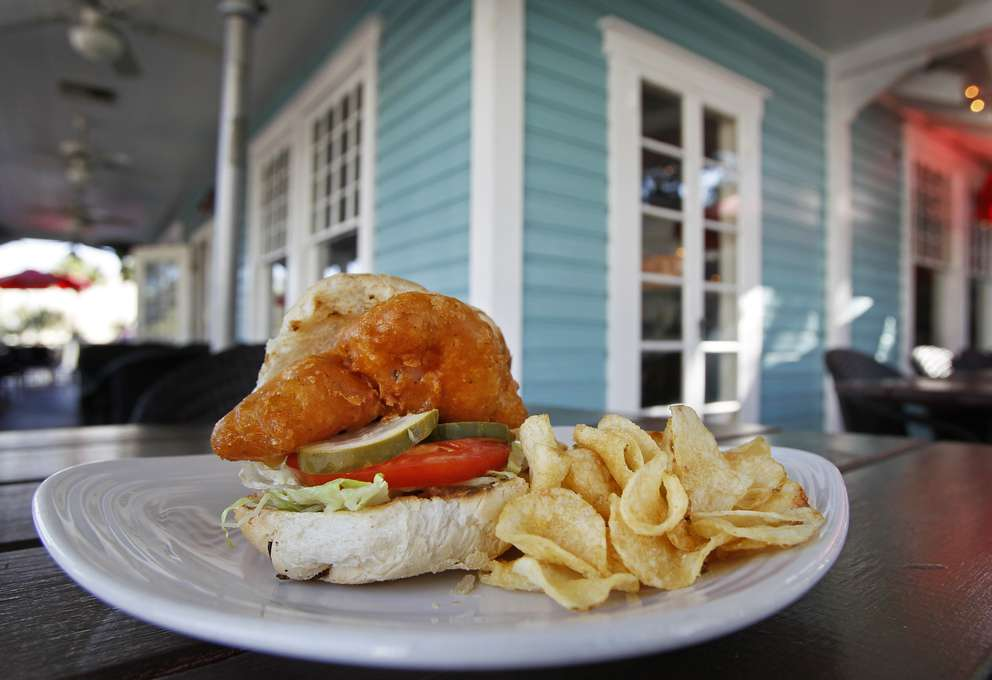 Beer battered Florida grouper sandwich at Sea Sea Riders. - Sea Sea Riders, at 221 Main St., has been a solid part of Dunedin's dining scene for nearly 30 years, since really before the charming gulf-side burg with the Scottish accent had much of a dining scene. Times (XXXX)
