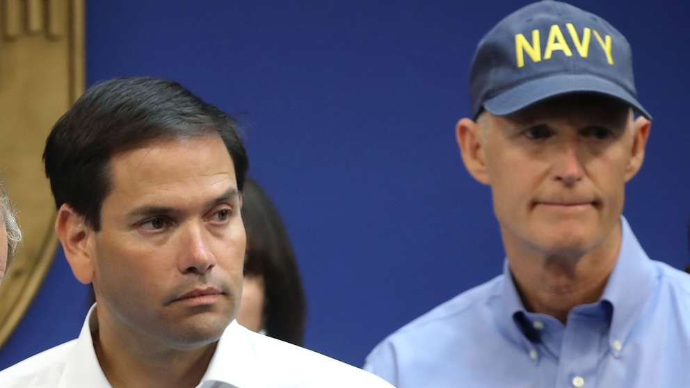 DORAL, FL - SEPTEMBER 06: (L-R), Sen. Bill Nelson (D-FL), Sen. Marco Rubio (R-FL) and Florida Governor Rick Scott speak to the media about Hurricane Irma on September 6, 2017 in Doral, Florida. It's still too early to know where the direct impact of the hurricane will take place but the state of Florida is in the area of possible landfall. (Photo by Mark Wilson/Getty Images)
