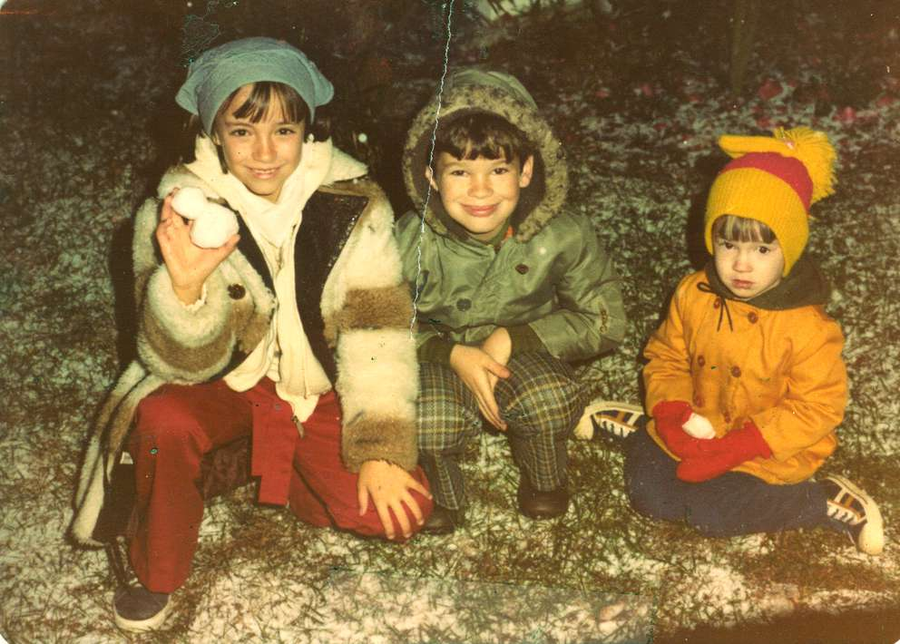 Michelle, Stacy and David McAdams awoke the morning of Jan. 17, 1977 to find snow on their lawn. They made snowballs, which they put in the freezer. [Contributed Photo | Times archives]