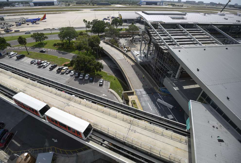 A people mover train is seen as construction continues on a new people mover station located at the main terminal of Tampa International Airport Tuesday, April 18, 2017 Tampa. CHRIS URSO | Times (2017)