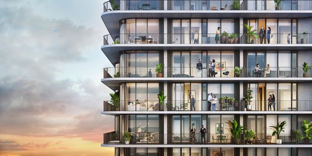 This rendering shows some of the balconies at Cora, a new apartment tower coming to 1011 E Cumberland Ave. in Tampa's Water Street Tampa development.