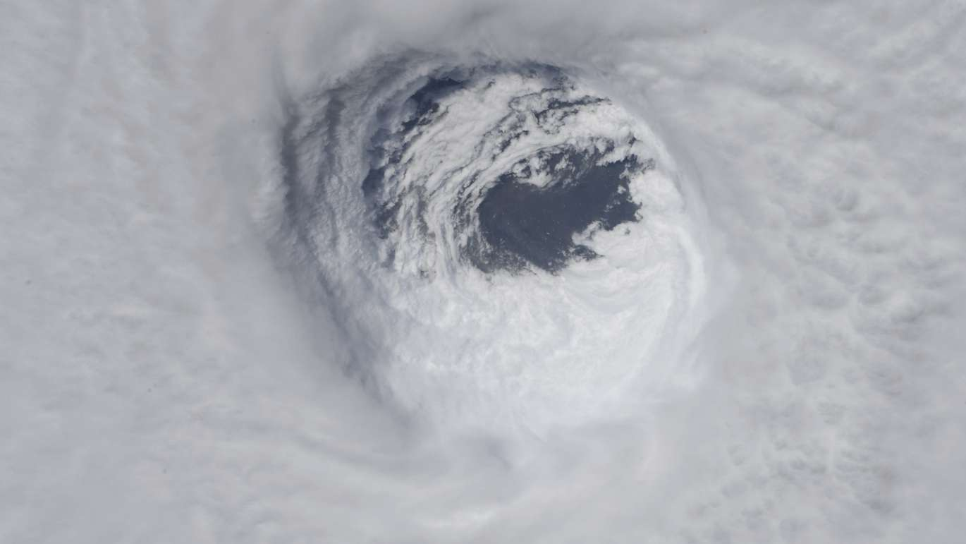This photo made available by NASA shows they eye of Hurricane Michael, as seen from the International Space Station. (NASA via AP)