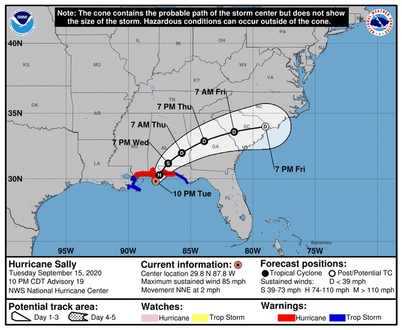 Hurricane Sally Expected To Make Landfall Between Panhandle Mobile Bay