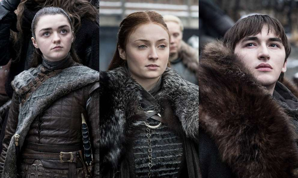 Maisie Williams as Arya Stark, Sophie Turner as Sansa Stark and Isaac Hempstead Wright as Bran Stark. [HBO]