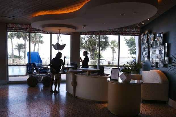 The newly renovated lobby of the Bellwether Beach Resort,  5250 Gulf Boulevard, on Tuesday.