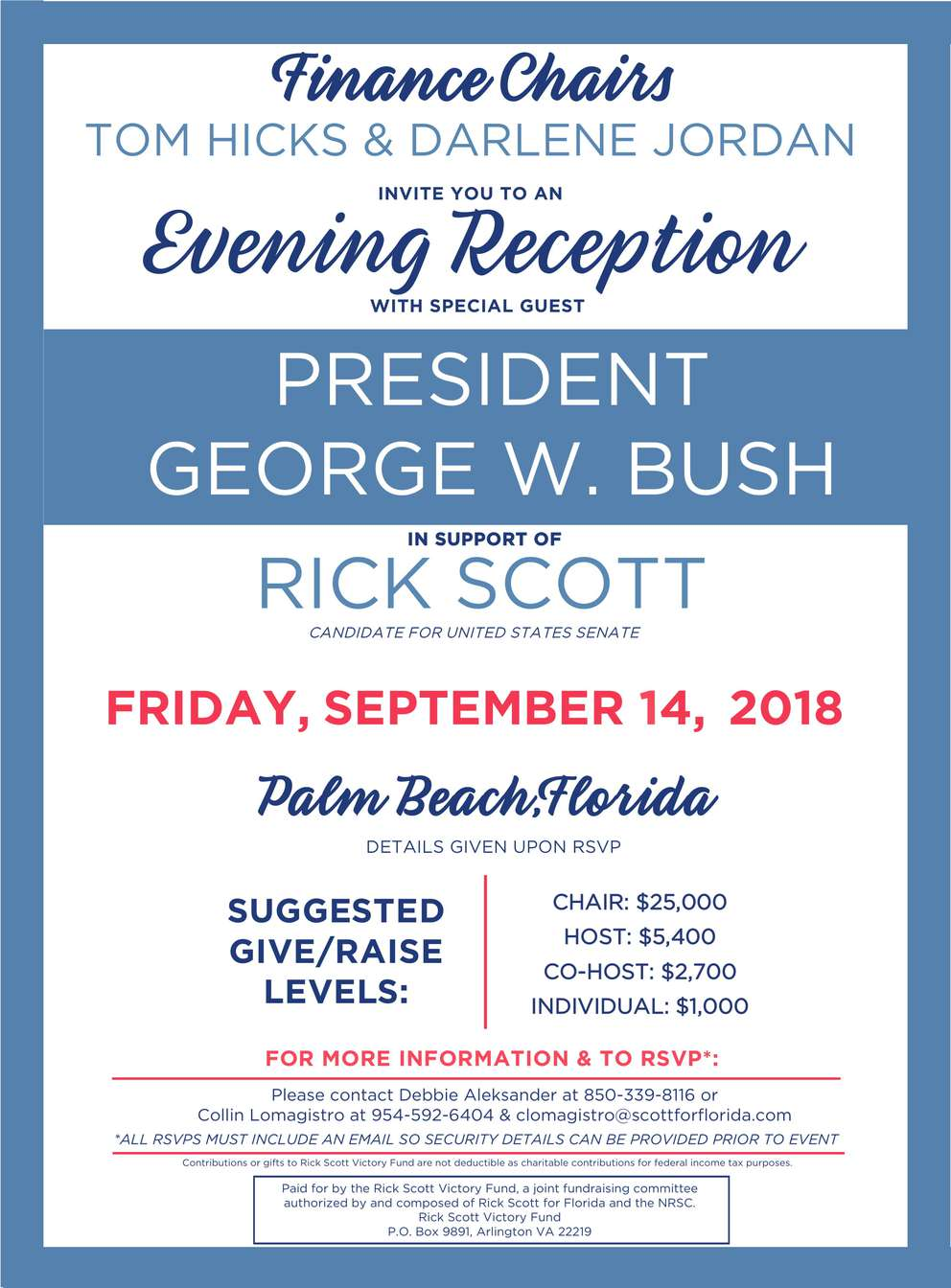 Invitation to attend fundraiser for Gov. Rick Scott featuring former President George W. Bush.