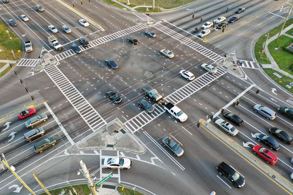 Aerial photo show the intersection of Bruce B. Downs Blvd. and Fowler Ave. in Tampa. [ LUIS SANTANA | Times]