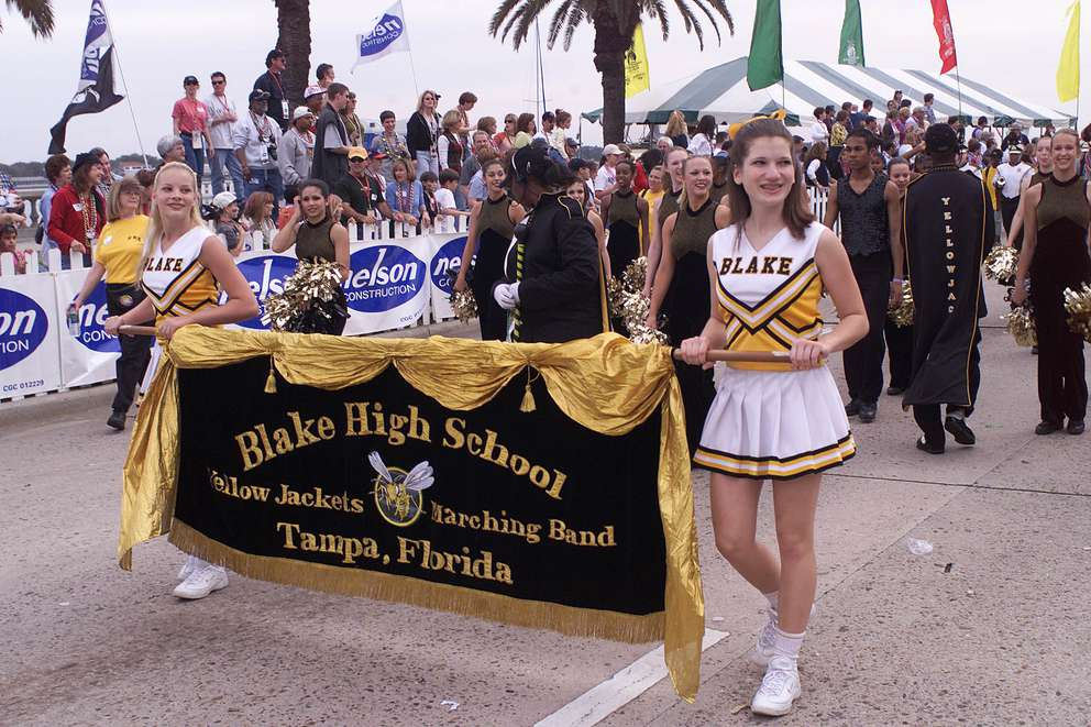 Blake High School Yellow Jackets Marching Band take part in the 2001 Gasparilla Parade.[Times archives]