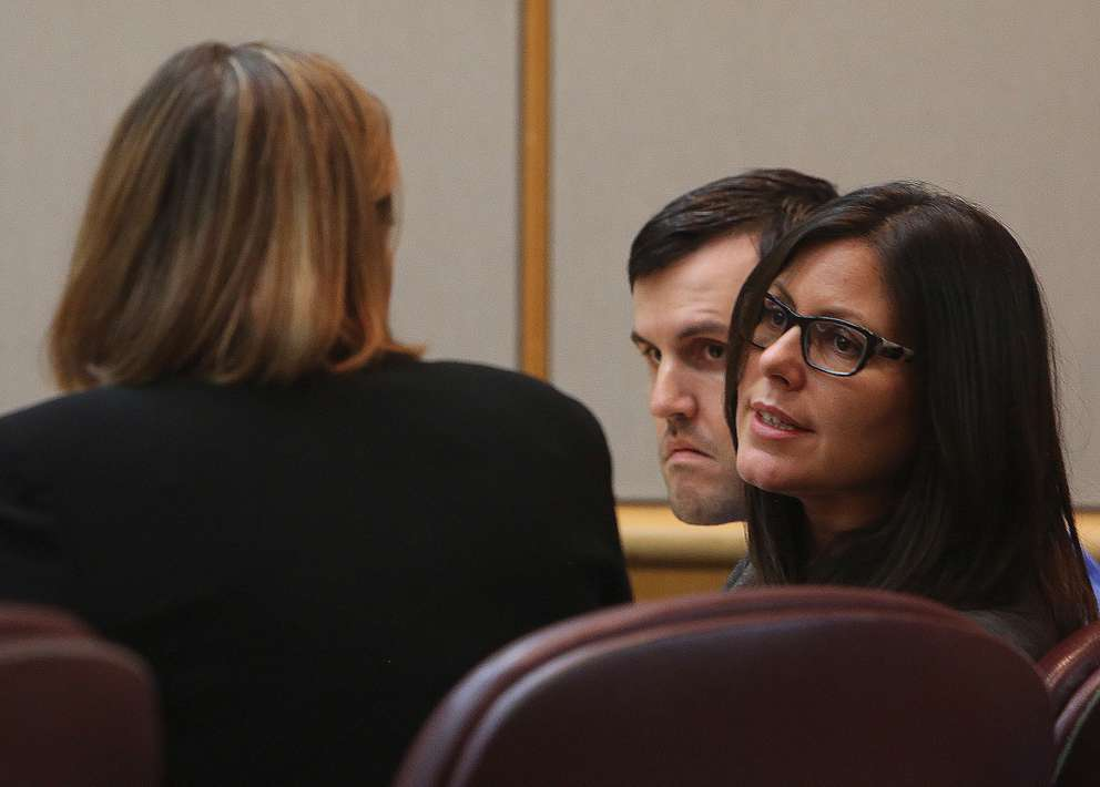 Public defenders Jane McNeill and Jessica Manuele talk as defendant John Jonchuck looks on. SCOTT KEELER | Times