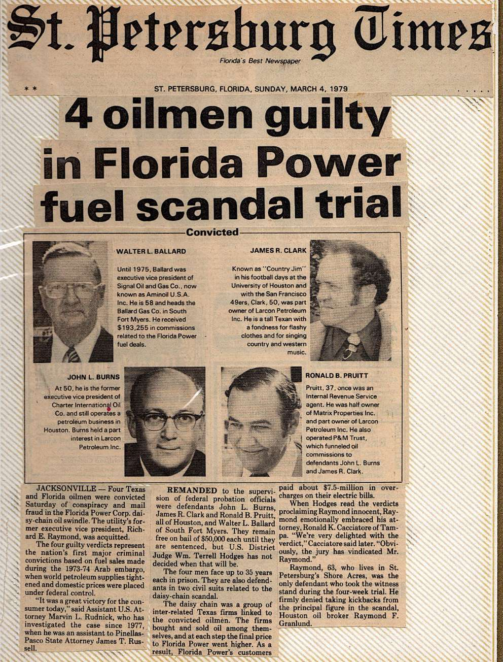 From Al Scudieri's newspaper clipping of the Florida Power case. The case's codename was