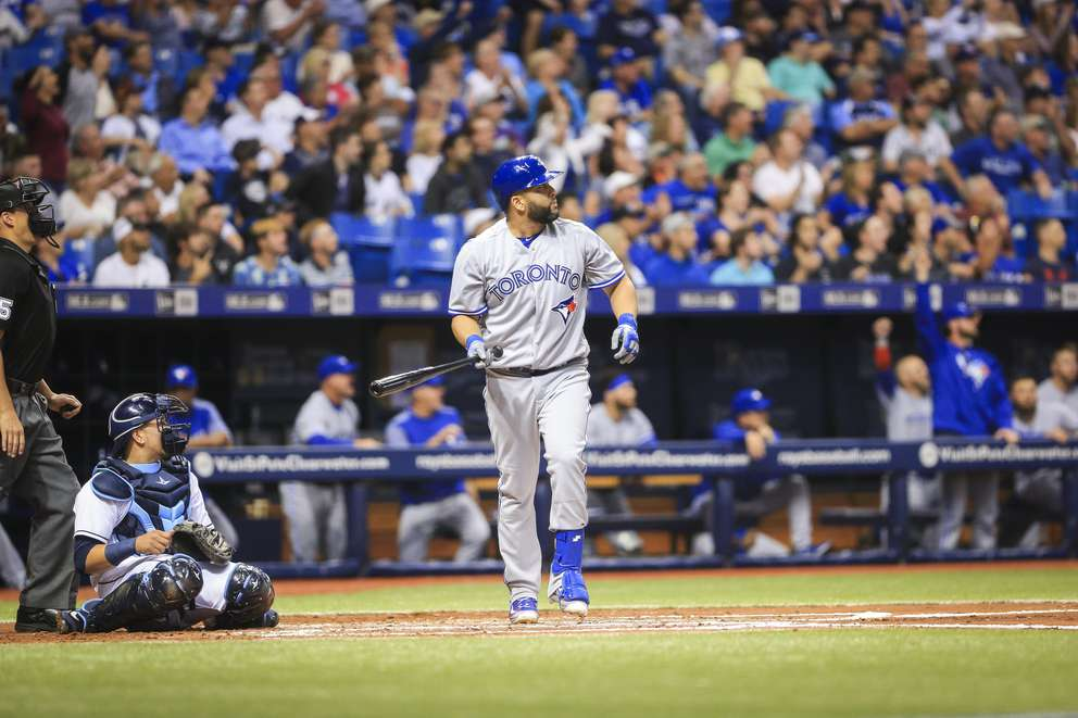 Toronto Blue Jays first baseman Kendrys Morales (8) watches the ball sail for the wall for a grand slam home run in the third inning of the game between the Toronto Blue Jays and the Tampa Bay Rays at Tropicana Field in St. Petersburg on April 6, 2017. [Times File Photo]