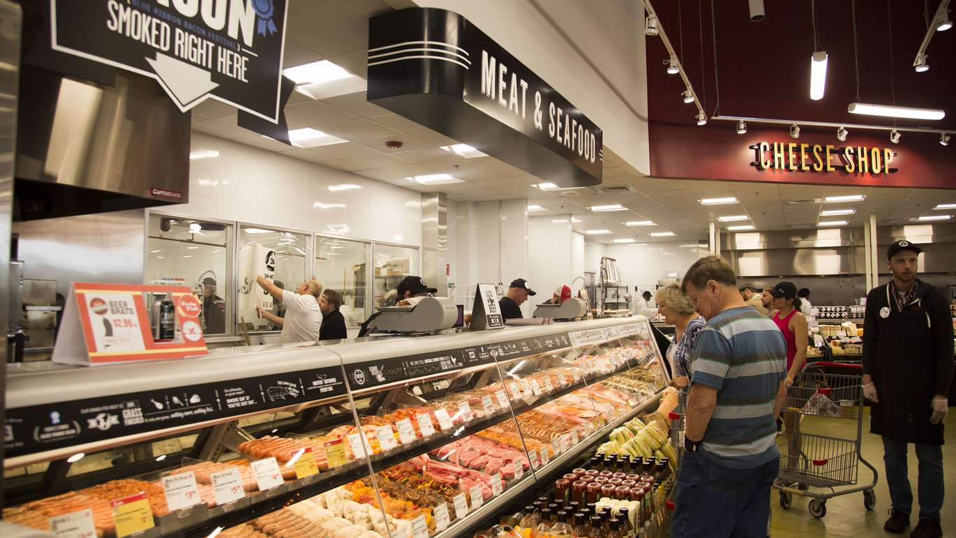 The meat and seafood department at Lucky's Market in St. Petersburg on Tuesday, June 5, 2018. The Market's grand opening on June 6, 2018. [EVE EDELHEIT   Times]