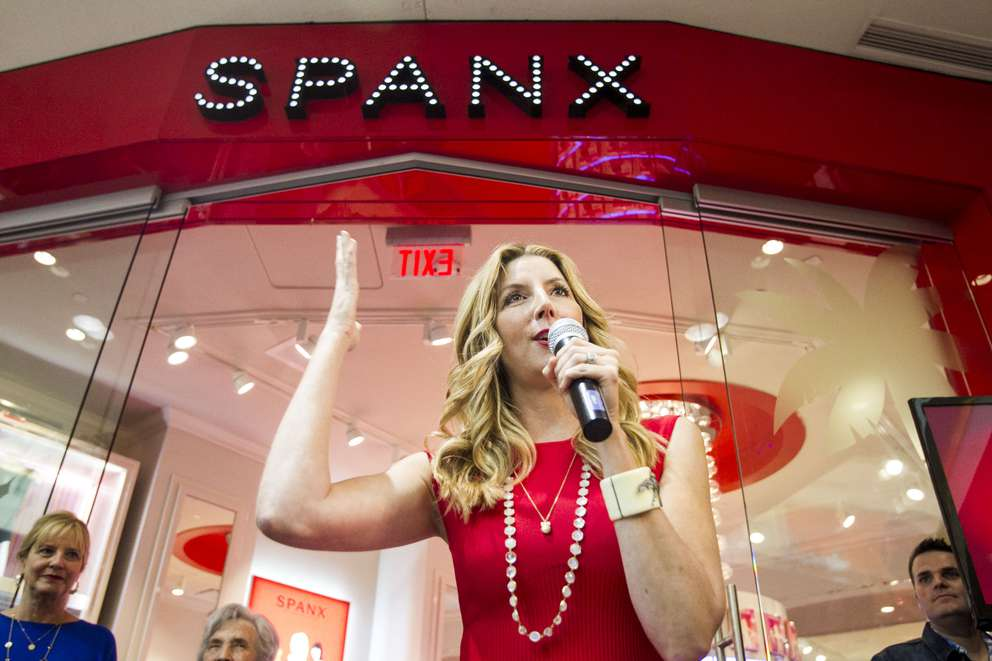 Spanx founder and Clearwater native Sara Blakely welcomes shoppers to the grand opening and ribbon cutting for the Spanx store at International Plaza on Friday, April 11, 2014. [WILL VRAGOVIC | Times]