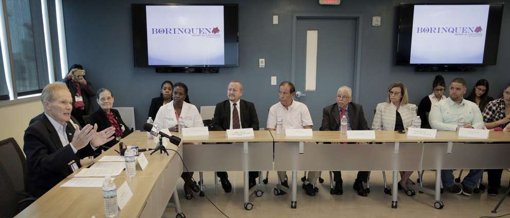 Miami, Florida – October 6, 2017- Sen. Bill Nelson (left) met with a group of Puerto Rican community leaders to discuss ongoing relief and recovery efforts in Puerto Rico in the aftermath of Hurricane Maria. Among the issues likely to be discussed is legislation Nelson filed today to provide Maria evacuees with quicker access to a federal benefit program designed to help U.S. residents pay for basic needs such as food, clothing and shelter in the wake of a disaster. Nelson's meeting with community leaders was held at Borinquen Health Care Center located at 3601 Federal Highway in Miami.