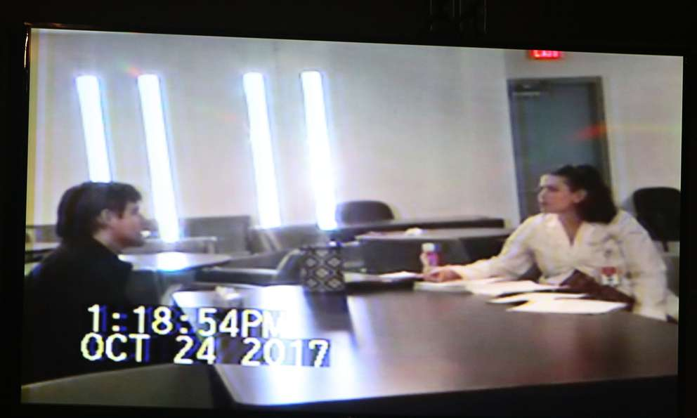 A photograph of the video shown to the jurors. Lazarou, on the right side, evaluates Jonchuck at a state hospital on Oct. 25, 2017. [SCOTT KEELER | Times]