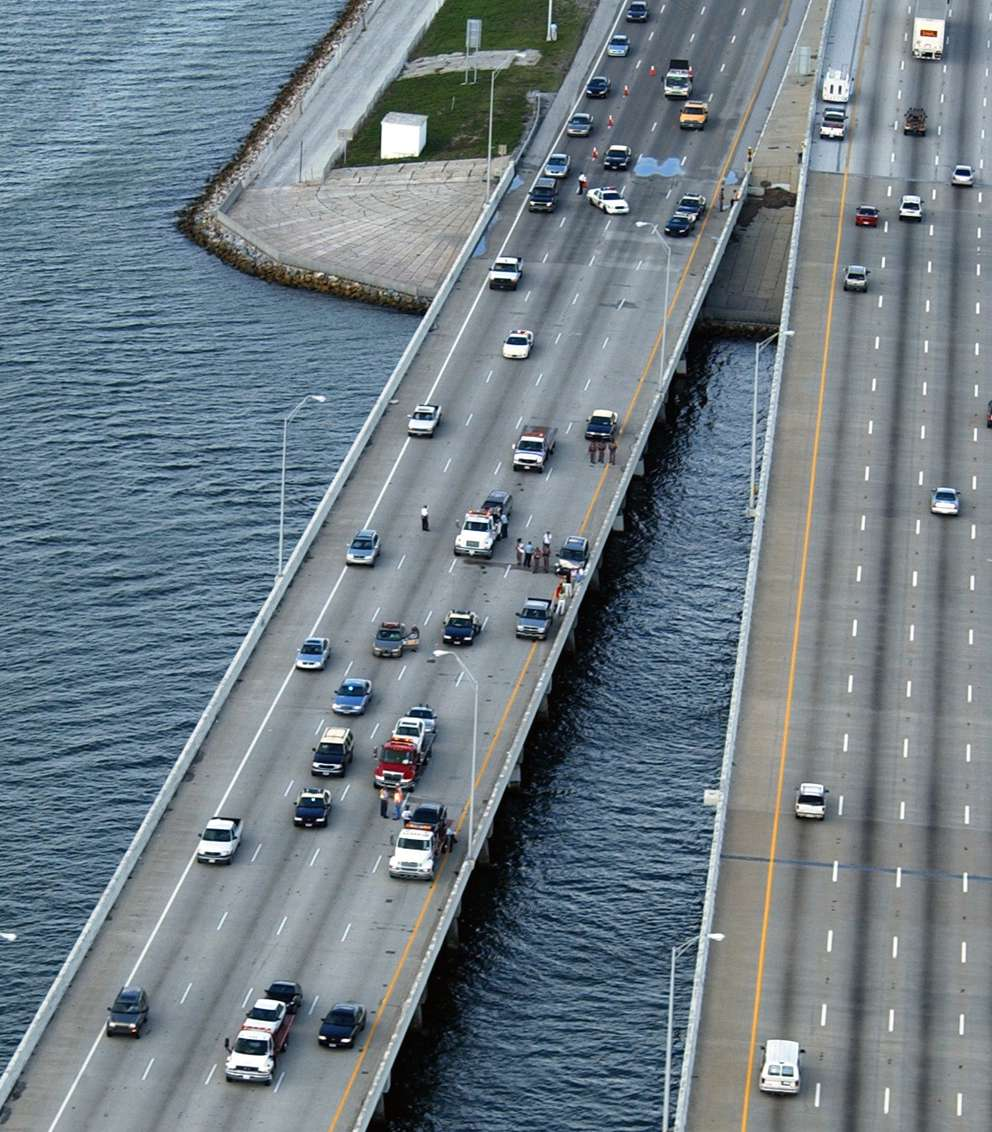 Traffic backs up on I-275 North on the Howard Frankland Bridge. [ Paul Lamison | WFLA-TV]