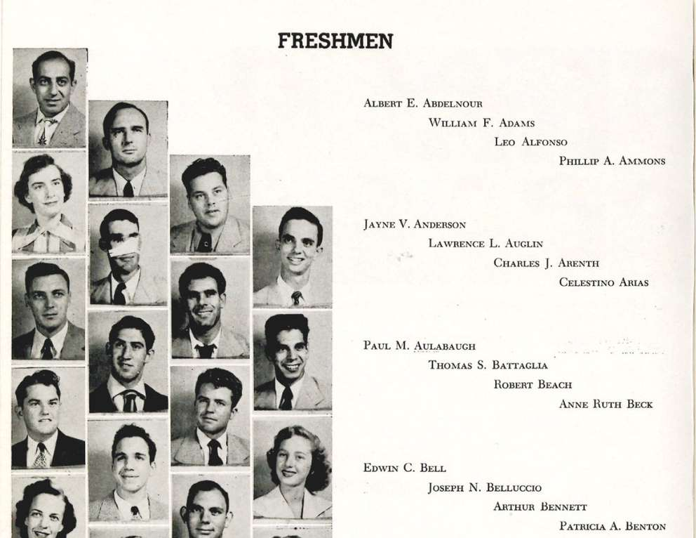 An image from the University of Tampa's 1951 yearbook with Judge Robert Beach pictured as a freshman. University of Tampa.