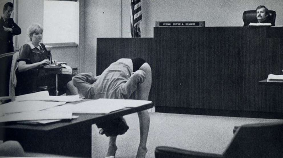 A dancer bends over in front of Judge David Demers. The Pinellas County trial from 1983 challenged the county's anti-nudity ordinance. (Times 1983)