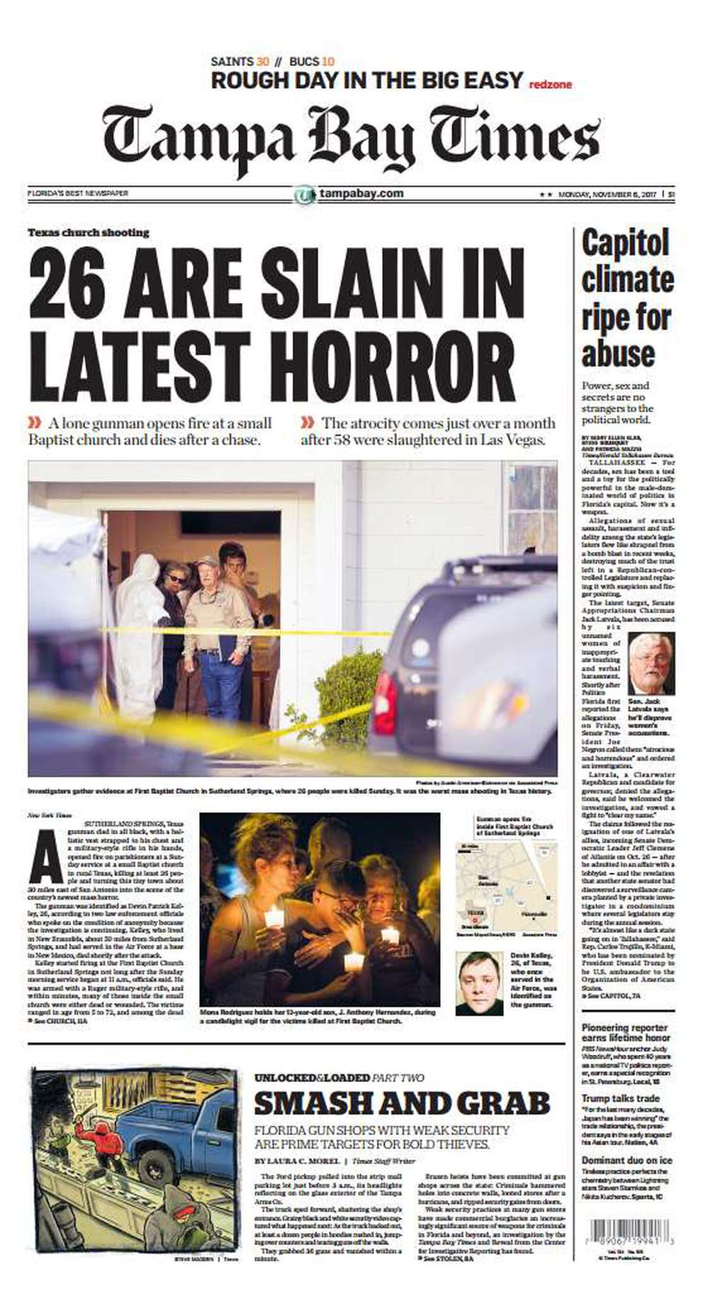 Nov. 5, 2017: 26 killed. The shooter killed 26 people at First Baptist Church in Sutherland Springs, Texas, including eight members of one family. The shooter was later found dead.