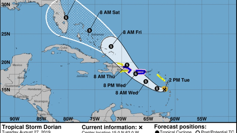 Tampa Bay inside Tropical Storm Dorian's five-day forecast cone