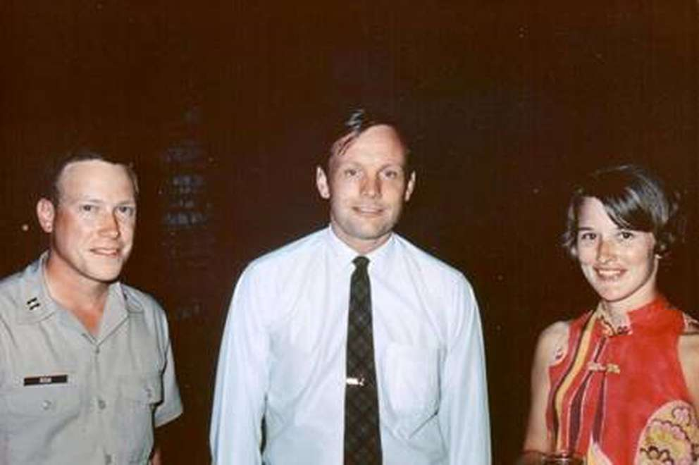 Neil Armstrong, center, with Dick and Carroll Risk (Photo courtesy Risk family)