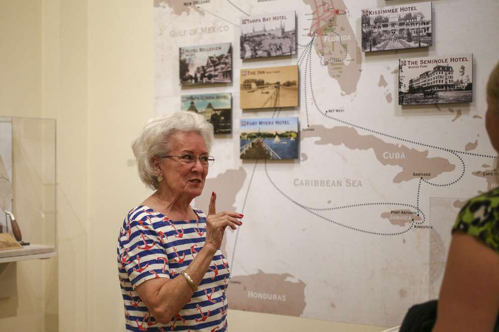 Stephanie Carlos, 75, comments while learning about the Plant System established by businessman Henry B. Plant, while visiting the Henry B. Plant Museum at University of Tampa. MARTHA ASENCIO-RHINE | Times