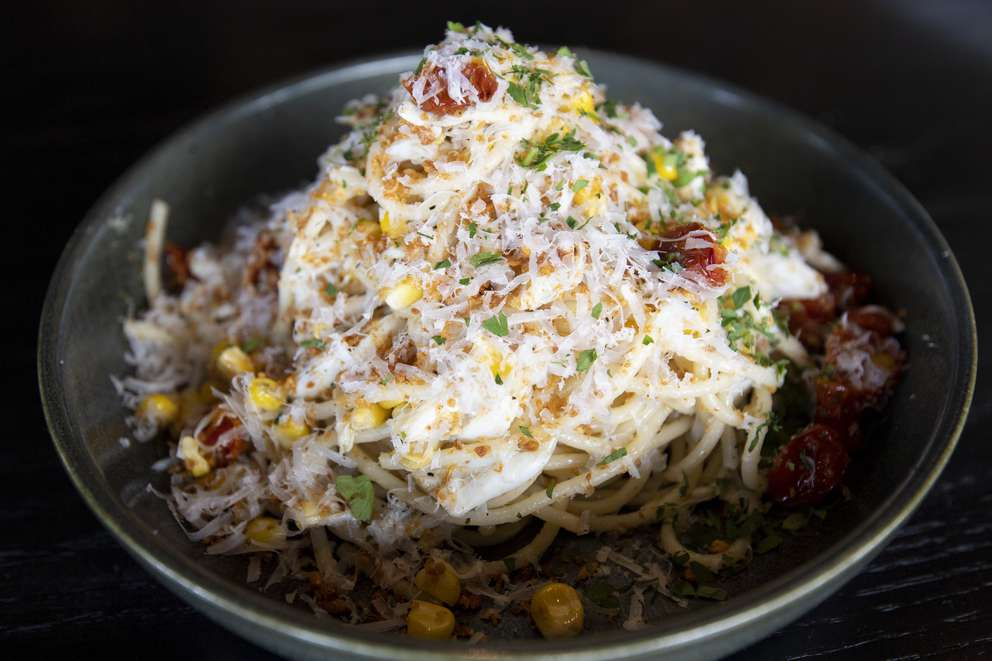 Blue crab spaghetti at Oak & Ola in Tampa. [ALLIE GOULDING | Times]