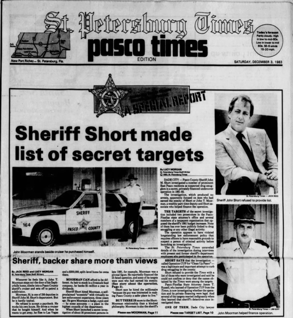 The Dec. 3, 1983 front page of the Pasco Times, the local edition of the St. Petersburg Times for Pasco County readers. The two reporters, Jack Reed and Lucy Morgan, would go on to win a Pulitzer Prize for their reporting on ex-Pasco Sheriff John Short.
