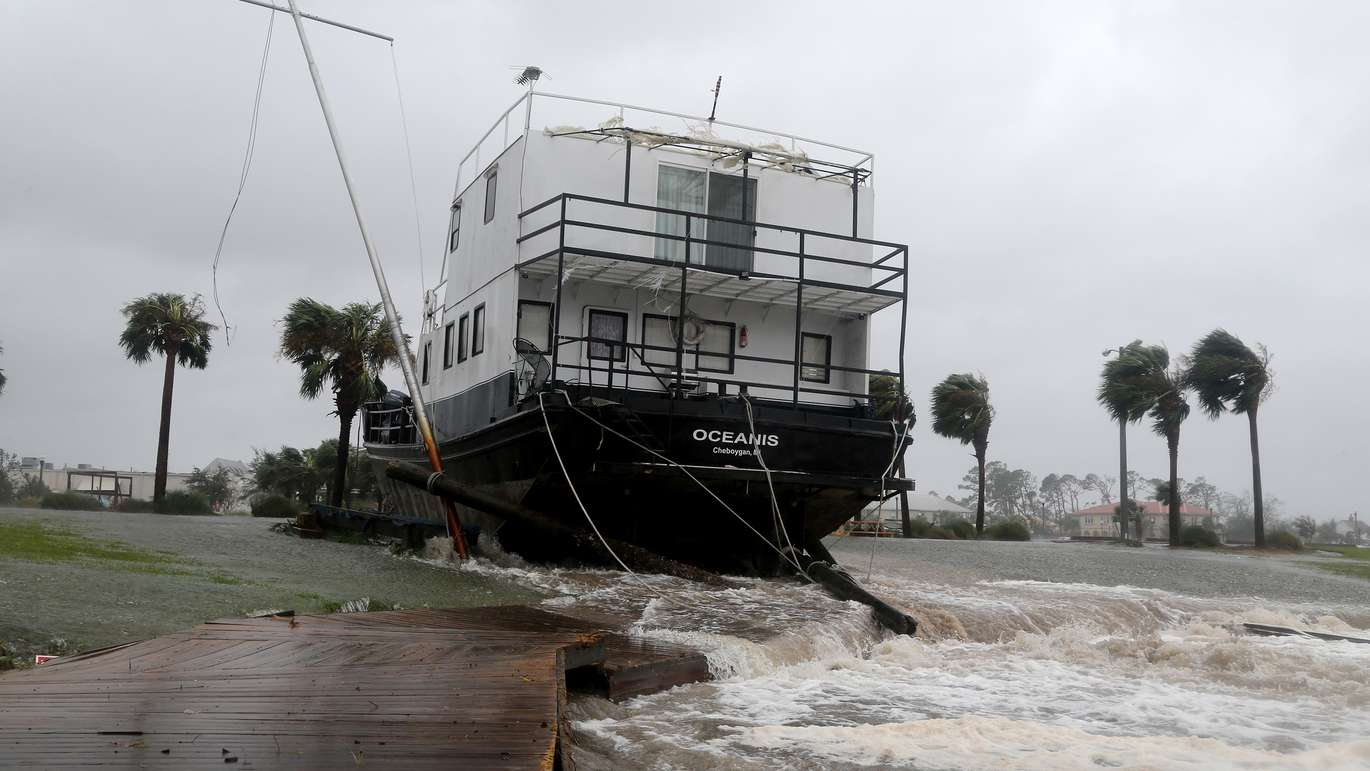 The Oceanis lay grounded by tidal surge at the Port St. Joe Marina in the Florida Panhandle on Wednesday (10/10/18) after Hurricane Michael made landfall near Mexico Beach. (Douglas R. Clifford, Times)