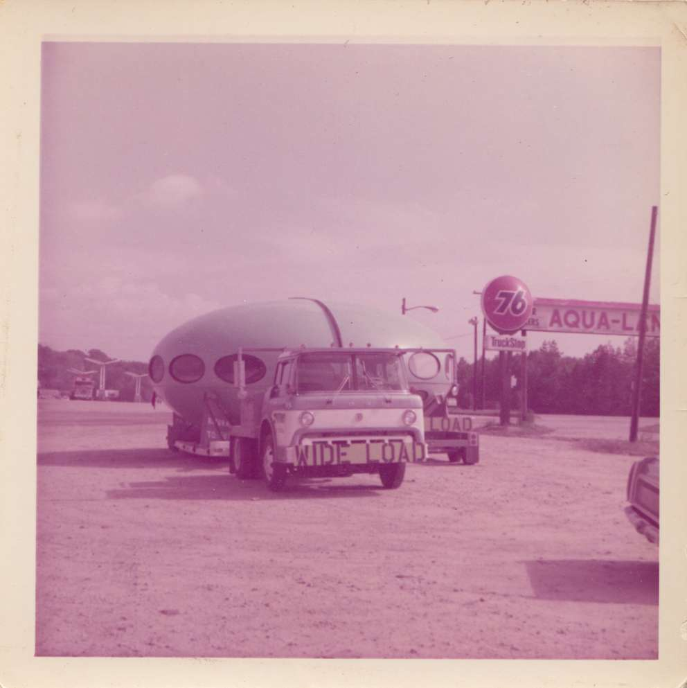 Jerry DeLong, manager of Futuro of Florida, transported the flying saucer-shaped homes on the back of flatbed trucks. (Courtesy of Bruce DeLong)