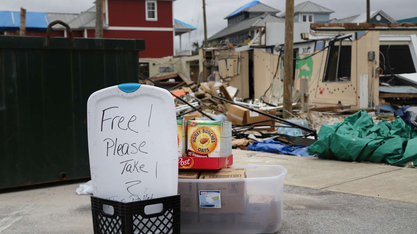 Residents were encouraged to take cereal from a donation center in Mexico Beach in December. DOUGLAS R. CLIFFORD | Times