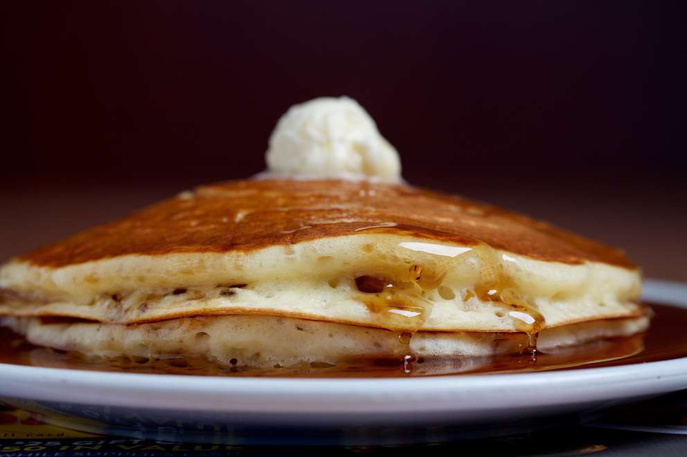 Fluffy buttermilk pancakes get a nod of approval at Denny's. MUST CREDIT: Photo by Deb Lindsey for The Washington Post.