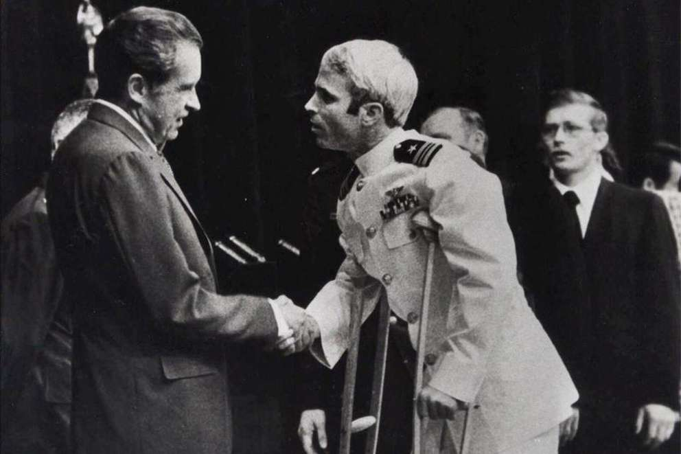 John McCain is greeted by President Richard Nixon in Washington in 1973 after spending 51/2 years in a Vietnamese prisoner of war camp. (Associated Press)