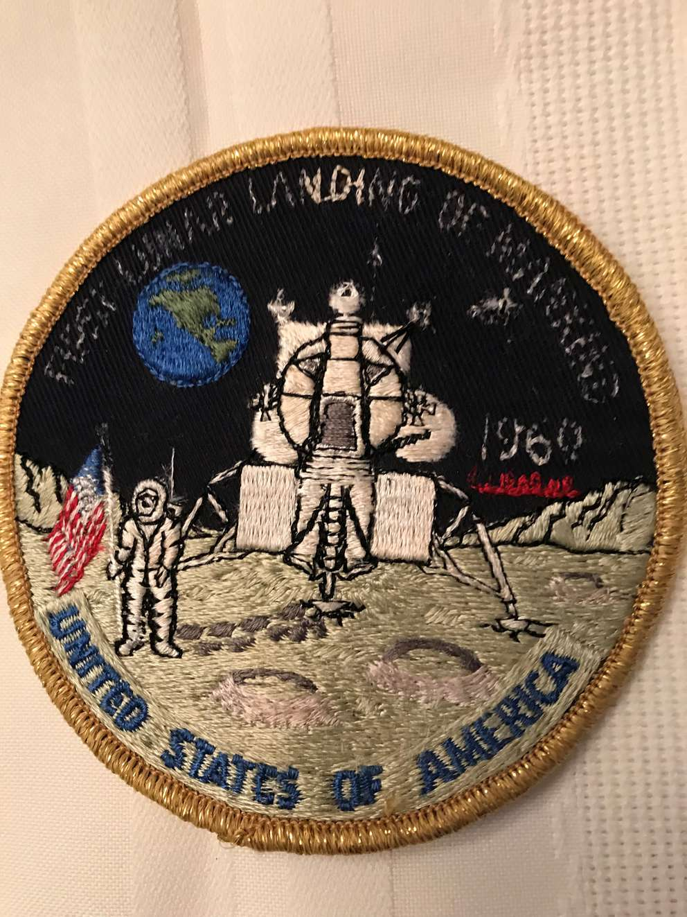 Apollo 11 patch awarded to Sun City Center resident Joe Birnbaum, who was one of the Cape Canaveral U.S. Customs inspectors who approved the entry into the United States of moon rocks collected by Apollo 11.