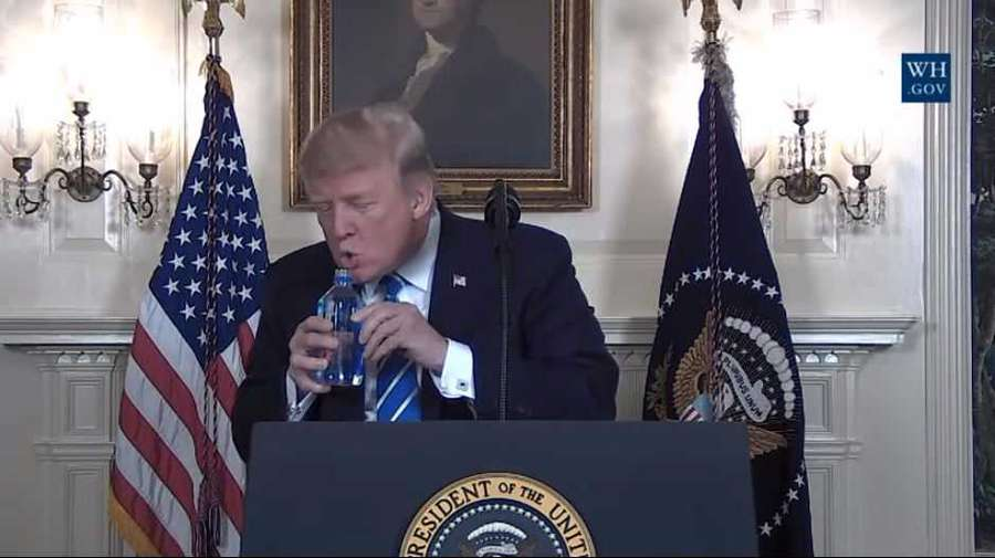 Trump halts speech to sip water, sparks Marco Rubio flashback