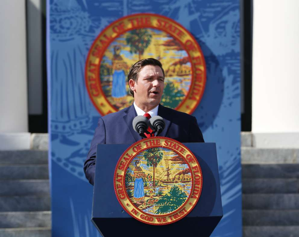 Florida's 46th Governor Ron DeSantis addresses the crowd, Tuesday in front of Florida's Old Capitol during his inauguration. (SCOTT KEELER | Times)