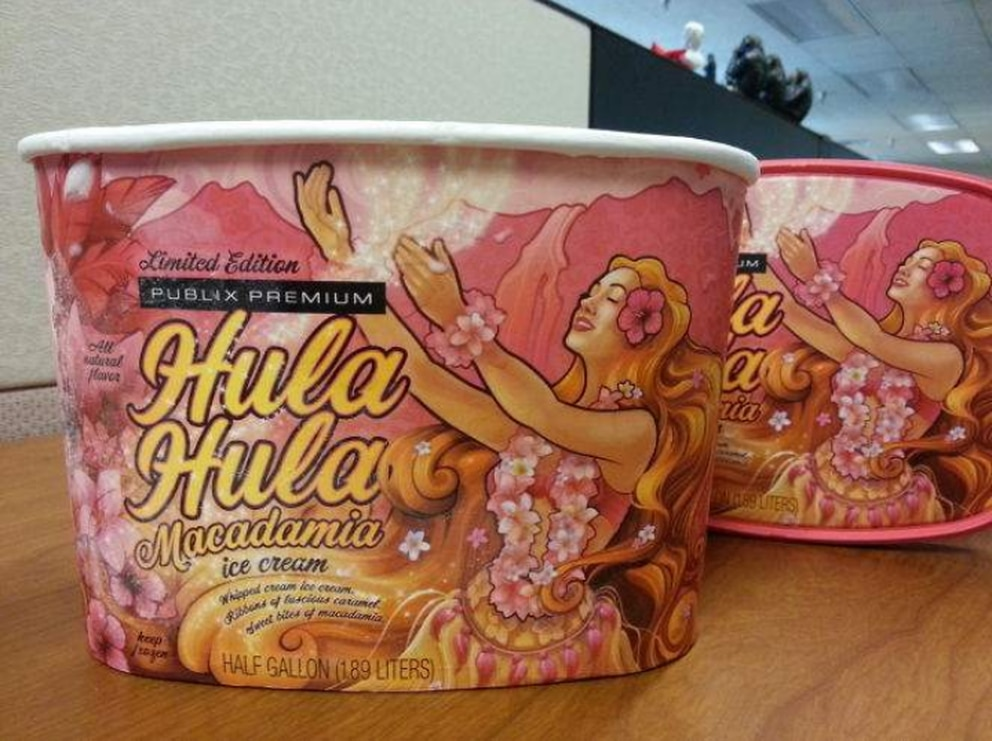The Hula Hula Macadamia Ice Cream, purchased Monday at a Publix in St. Petersburg. [Photo by Michelle Stark]