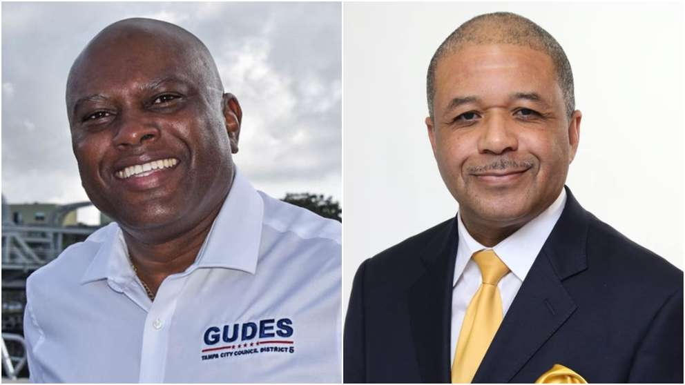 Orlando Gudes, left, defeated Jeffrey Rhodes in the The Tampa City Council District 5 race. [Gudes, Rhodes campaigns]