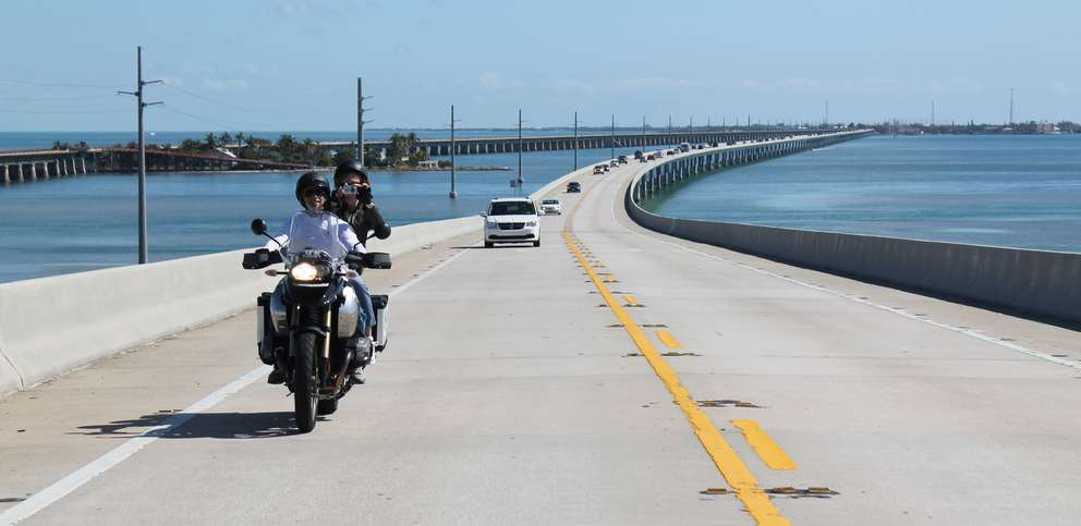 Motorcyclists ride on Seven Mile Bridge along the Overseas Highway, U.S. 1, which connects Knight's Key in Marathon, Fla. with Little Duck Key. Associated Press (2012)