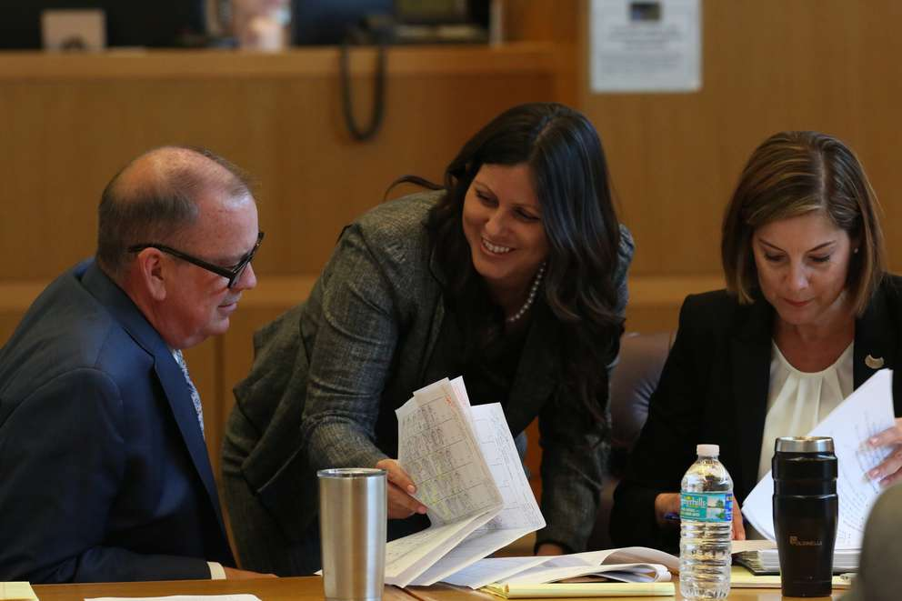Left to Right: Defense attorneys Greg Williams, Jessica Manuele and Jane McNeill confer during jury selection in the John Jonchuck murder trial on Friday. [SCOTT KEELER | Times]