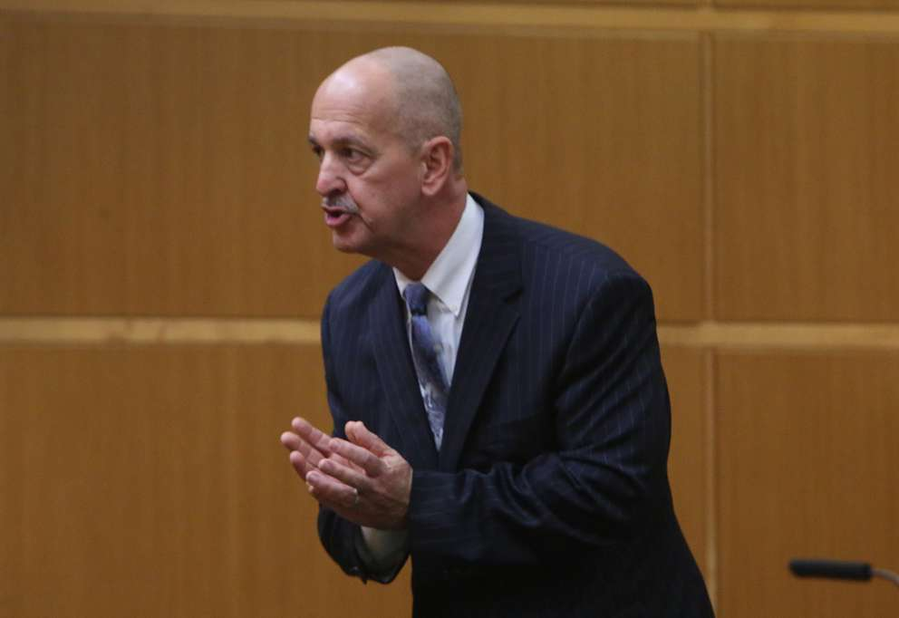 Prosecutor Doug Ellis gives his closing argument to the jury in the John Jonchuck murder trial. SCOTT KEELER | Times