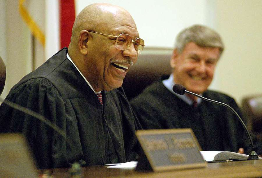 Florida Supreme Court Justice Leander Shaw Jr. speaks to friends, family and supporters during his 2002 retirement ceremony at the Florida Supreme Court building in Tallahassee. (AP Photo/Bruce Brewer)