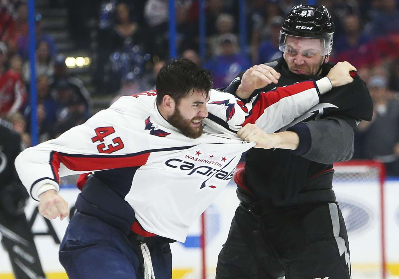 Lightning Defenseman Erik Cernak 81 Drops The Gloves And Fights Capitals Right Wing Tom Wilson 43 During Third Period Action