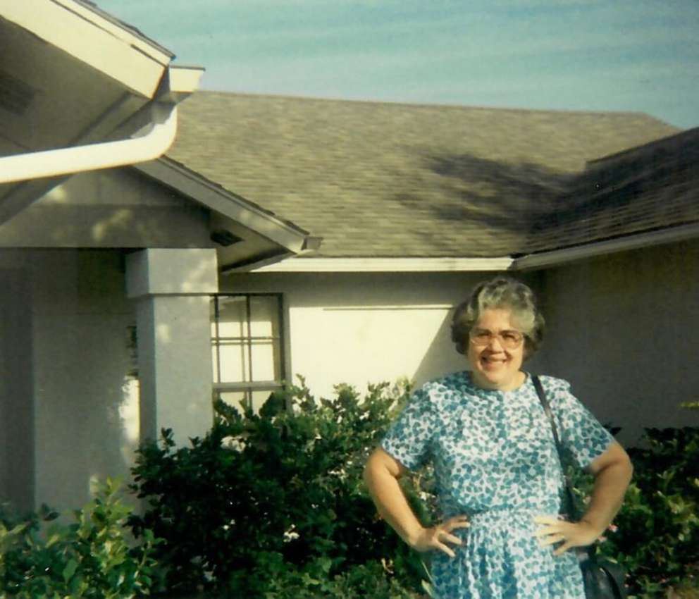 The Rev. Esther Gonzalez outside her Tampa home. She was a mother to four and grandmother to nine. (Image courtesy Alba Gonzalez.)