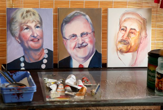 Paintings by St. Petersburg artist Margaret Bayalis, from left: Portrait for Amanda Kuppler of Sarasota, of her grandmother Rosemary who died last May; Charles Albert Biedermann, who died in August of 2020 and a portrait for Jose Conceiçao, of Porto, Portugal of his 73-year-old father who died in February.