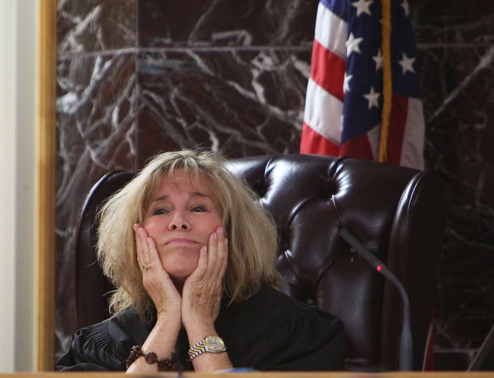 Judge Chris Helinger listens to lawyers argue about whether to allow the testimony of a paralegal who saw Jonchuck and his daughter on the day before he killed her. The paralegal said Jonchuck told her: