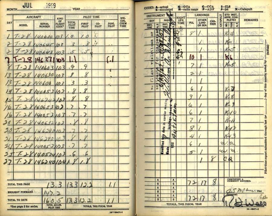 Pages from John McCain's flight log while in Navy flight school in Pensacola. Notice date: July 1959, top left, and signature, bottom right. (National Naval Aviation Museum)